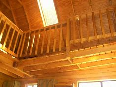 If I were to do it over, I'd forget the rafter look, and continue with my wall siding right up over the rafters. This would also give more room for insulation and a higher R-value. Deer Camp, Wooden Stairs, Potting Sheds, Boat House, Stair Railing, Tiny Living, Tiny Homes, Insulation, Home Interior Design