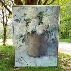 White hydrangeas impressionistic oil painting by Gina Brown Art www.GinaBrownArt.com