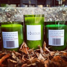Wine candles made from 100% soy wax and recycled wine bottles.