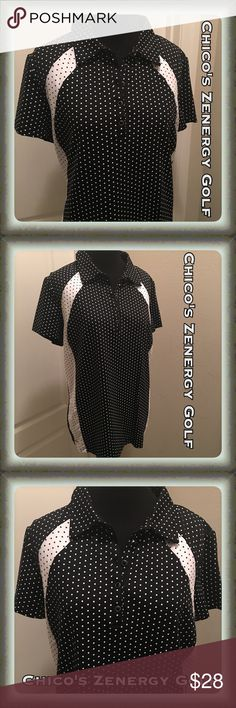 NWOT Chico's Zenergy Golf Shirt Size Large NWOT I bought this for myself about 3 years ago & never wore it, but removed tags right after purchase thinking I would! Now that I'm a posher, I know better! Ha! Chico's golf line is only sold in select stores! Black & white with dots. Button up neck (polo style) has stretch to it. Chico's size 2, which is a large & fits 12/14. Black material is 91% Nylon 9% Spandex. White material is 92% Polyester 8% Spandex. Chico's Tops