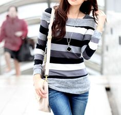 Long Sleeves Boat Neck Stripes Pattern Street Fashion Ladylike Women's T-shirtT-Shirts | RoseGal.com