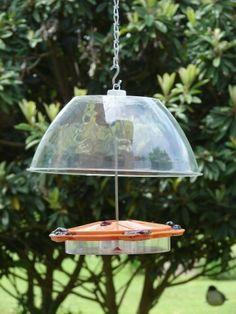 Bird feeder rain shield from dollar store bowl