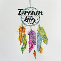 If your dreams don't scare you, they're not big enough. #dreamcatcher #dreambig #illustration #feathers #neon