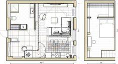 Alaprajz - Fiatal hölgy 40m2-es modern lakásának bővítése +20m2 galériával - nagy belmagasság tetőtérben