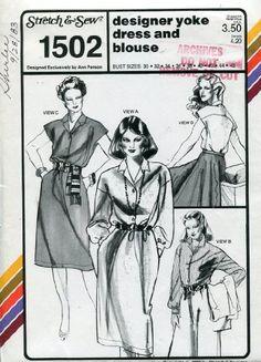 Stretch & Sew Pattern 1502 ~ Designer Yoke Dress & Blouse ~ Bust 30-46
