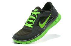 best loved 8e5b5 4e1ad Mens Nike Free Run+ 3 Shoes Black Green Power