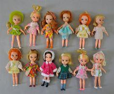12 x Hasbro Dolly Darling Dolls, c.1960`s with original outfits, includes: Teeny Bikini; Slick S