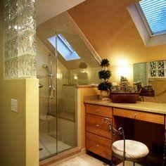 1000 images about bathroom designs on pinterest sloped for Sloped ceiling bathroom ideas