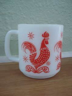 1960s Rooster Fire King Anchor Hocking Mug 2012174 by bycinbyhand