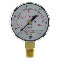 "#weldfabulous Miller Smith GA136-03 2"" 50 CFM / 25 LPM Replacement Gauge"