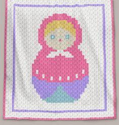 Crochet Pattern   Baby Blanket / Afghan - C2C - Matrioshka - Row-by-Row Instructions + Chart