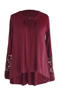Cupshe Who's That Girl Wine Lace Casual Top