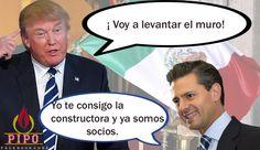 Peña Nieto y Donald Trump construyendo el muro.
