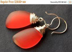 SUMMER SALE Orange Seaglass Earrings. Orange Earrings. Sea Glass Earrings. Wire Wrapped Wing Earrings. Handmade Jewelry. by TheTeardropShop from The Teardrop Shop. Find it now at http://ift.tt/1pX3a4M!
