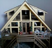Handmade Wood Doll House /Lighted Scale 1:12 by Pierce and Padgett Creations