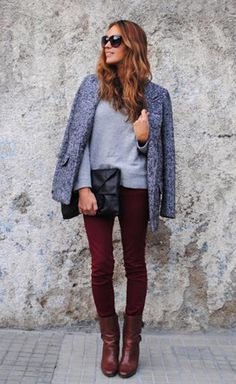 Tweed Coat Another Trendy Coat For This Winter Burgundy Jeans Outfit, Burgundy Leather Jacket, Maroon Jeans, Simple Outfits, Fall Outfits, Cute Outfits, Travel Outfits, Casual Outfits, Weekly Outfits