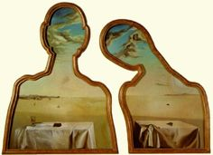 "Salvador Dali, ""a couple with their heads full of clouds"""