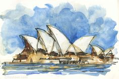 2 and the Sydney Opera House - Liz Steel House Sketch, House Drawing, Sydney Map, Art Alevel, Pen And Wash, Unicorns And Mermaids, Travel Drawing, Urban Sketching, House Painting
