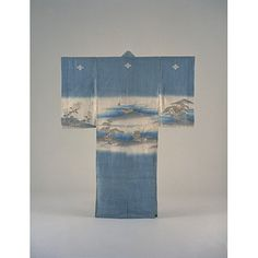 Child (Boys?) Furisode (Long-Sleeved Kimono) with Scenes from the Noh Play, Hagoromo (Feather Coat), on Light Blue Ground.Edo Period, Kyoto National Museum