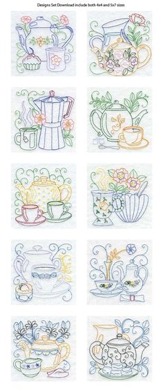 Vintage Embroidery Designs Line Art Tea Pots Embroidery Machine Design Details - Love the patterns for kitchen towels. Vintage Embroidery, Embroidery Applique, Cross Stitch Embroidery, Machine Embroidery Designs, Embroidery Sampler, Embroidery Jewelry, Embroidery Tattoo, Embroidery Scissors, Simple Embroidery