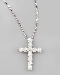 HN Jewels 1.25 Ct D//VVS1 Diamonds Fancy Cross Pendant 18 Chain Necklace In 14K Yellow Gold Plated 925