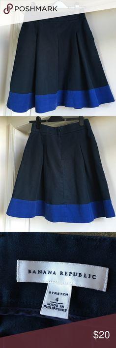 Blue Color Block Skirt from Banana Republic Color block with pockets and pleats! Banana Republic Skirts Circle & Skater