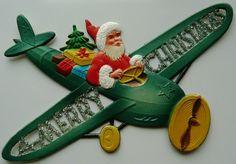 *VINTAGE ~ Flat Dresden Santa in an Airplane Decor