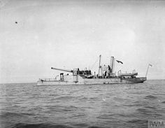 "The old gunboat HMS Excellent, re-armed with a 9.2"" gun which was used to bombard the Belgian coast, 1914"