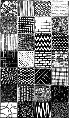 sampler/zentangle/doodle by Shanita Lyn. Made with black fineliner pen in my Moleskine. :)Pattern sampler/zentangle/doodle by Shanita Lyn. Made with black fineliner pen in my Moleskine. Doodle Art Drawing, Zentangle Drawings, Mandala Drawing, Cool Art Drawings, Easy Drawings, Art Sketches, Black Pen Drawing, Doodles Zentangles, Doodle Art Designs