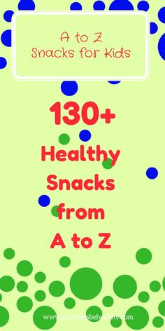 Do you have trouble getting your children to eat healthy snacks throughout the day? Or have trouble coming up with those healthy snacks? Check out 130 ideas snacks for kids! Alphabet snacks for kids, healthy snacks from A to Z! Healthy Kids Snacks For School, Toddler Snacks, Kid Snacks, Snacks Ideas, Preschool Snacks, Preschool Letters, Alphabet Activities, Preschool Cooking, Kids Alphabet