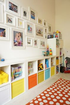 Simple Tips for a Stunning Gallery Wall - The Caterpillar Years Play Room Ideas Loft Playroom, Ikea Playroom, Toddler Playroom, Playroom Organization, Playroom Design, Toddler Rooms, Playroom Wall Decor, Storage For Playroom, Boys Playroom Ideas