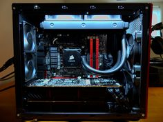 [Build Log] & [Case Mod] Prodigy ITX - MATX (ROG THEME) *WATERCOOLED 290's… Pc Computer, Laptop Computers, Best Pc, Pc Cases, Jukebox, Rigs, Building, Gaming, Geek
