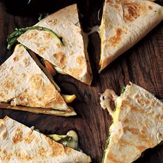 Brie, Apple, and Arugula Quesadillas- De-lish!!! Seriously, you have to try this to recipe- so simple and great flavor combination.