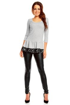 Szaro czarna tunika damska z półokrągłym dekoltem Leather Pants, Leggings, Patterns, Fashion, Tunic, Leather Jogger Pants, Block Prints, Moda, Fashion Styles