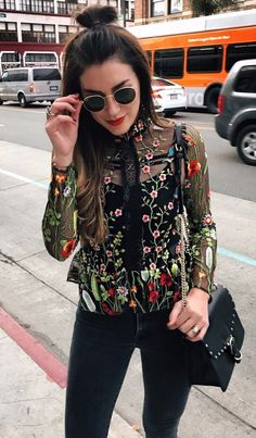 floral embroidered transparent blouse for any occasions that can be layered with some tank