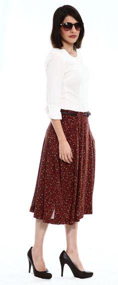 Romantic floral midi skirt  by TAMAR LANDAU #modest chic