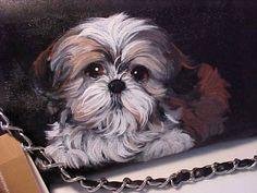 Chien Shih Tzu, Shih Tzu Puppy, Baby Animal Drawings, White Puppies, Pet Rocks, Cartoon Dog, Dog Tattoos, Dog Portraits, Animal Paintings