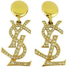 Yves Saint Laurent YSL Vintage Rare Massive Diamante Logo Dangling Earrings 1