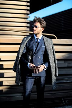 Navy Double Breasted Suit: Pitti Uomo, Florence