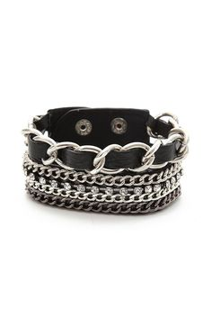 hot topic black chain strap bracelet chains faux leather metal goth gothic punk edgy alternative