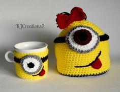 Crochet Despicable Me Girl Minion Beanie Hat & Mug Cozy - Etsy $30.00