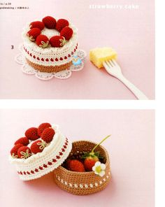 crochet strawberry cake
