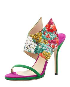 Floral-Print Silk and Suede Wing Sandal by Paul Andrew at Bergdorf Goodman.