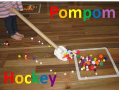 Preschool sports theme - pompom hockey