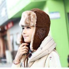 Russian Winter snow Hats for women Waterproof furry Ear Hats Warm mad  Bomber Hats with flower 14ba89012cf4
