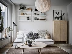 Scandinavian interior and design Home Living Room, Living Room Designs, Living Room Decor, Living Spaces, Small Living, Living Room Inspiration, Interior Inspiration, Ikea Lounge, Söderhamn Sofa
