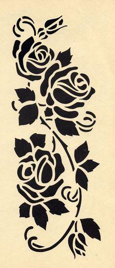 Stencils, Stencil Templates, Stencil Patterns, Stencil Diy, Stencil Painting, Stencil Designs, Fabric Painting, Rose Stencil, Flash Art