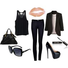 "black outfit ""all black everything"" by jessie-medina on Polyvore, very elegant"