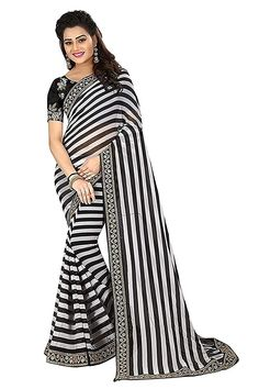 b12680ec9 SareePopular Women s Black And White Striped Georgette Print Saree With  Cotton amp Net Embroidery Blouse Piece