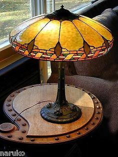 Wilkinson Lamp Leaded Stained Glass Beautiful Colors Perfect Patina Fancy Base | eBay